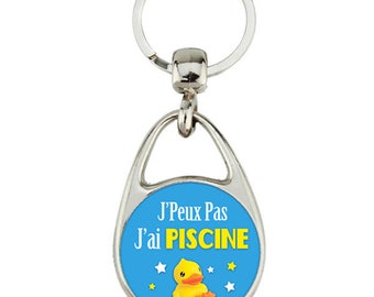 "Keyring ""I can't I pool"" gift, duck, message"