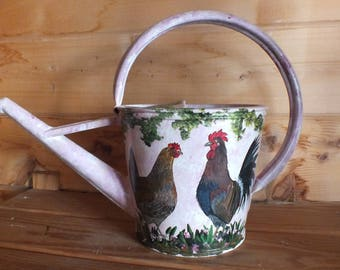 painting on retro watering can: Mr. rooster and hen friend...