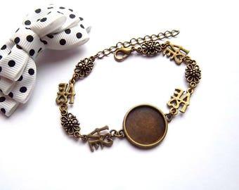 "x 18 mm cabochon bronze bracelet holder, connector ""love"" and print"