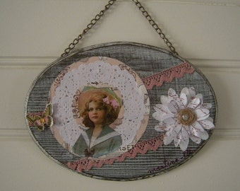 Wall hanging: Vintage, butterfly and flower girl...