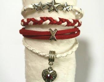 """jewel forever"" bracelet MULTISTRAND red and white"