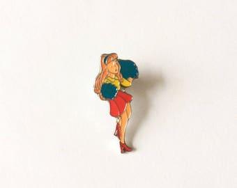 Retro 1970's Dainty Cheerleader Badge Brooch Pin Accessory