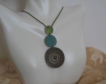 Native American pendant necklace, 3 tier pendant necklace, 3 tier copper pendant necklace