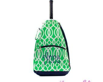 Monogram Mint Vine Tennis backpack-tennis bag-tennis racket bag-personalized tennis racket backpack