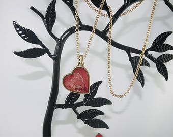 Red antique brass, rhinestone trilogy heart PENDANT
