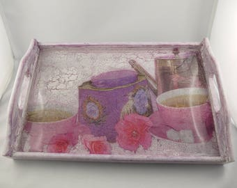 """Pink color painted wood tray """"Tea"""""""