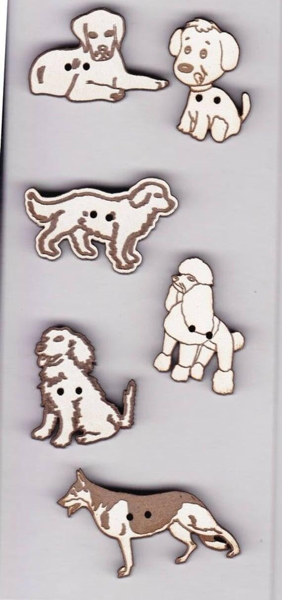 """Insert buttons handmade wooden """"dog"""" motif"""