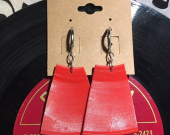 Vinyl Record Earrings - Red Opaque