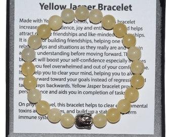 Buddha Bracelet, Genuine Yellow Jasper Bracelet, Power Bracelet, Protection Bracelet, Healing Bracelet, 8mm Wrist Mala, 7 Chakra Bracelet