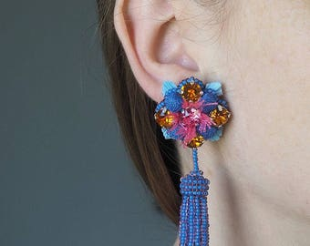 Embroidered earrings unique, made entirely by hand, Ira Gelezkaja