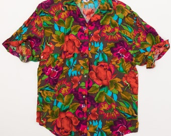 Vintage 80's Floral Short Sleeve Button Down