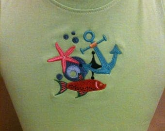 Tee child's cotton with draw string Summer Beach logo embroidery