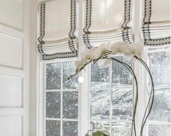 Striped Linen Roman Shades Black White Designer Cordless Child