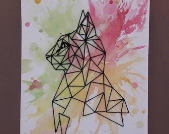 Painting watercolor, geometric animal