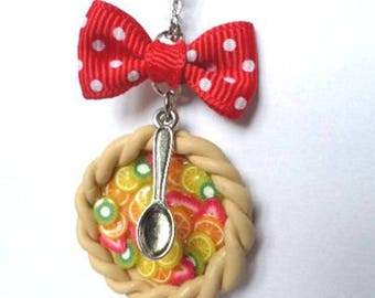 Necklace polymer clay fruit tart