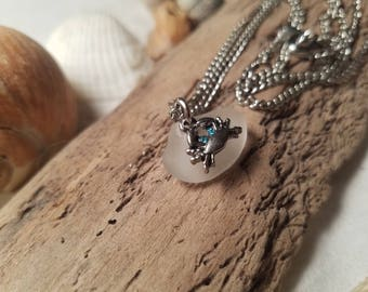 White Sea Glass Necklace w/studded crab charm
