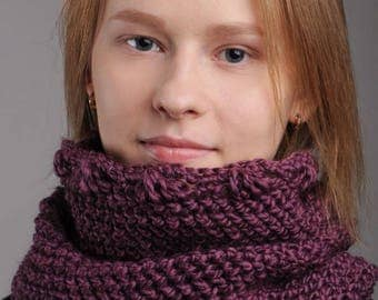 Snood crochet pattern women Scarf crochet pattern Snood purple Wool snood crochet Tall cowl snood English PDF