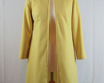 Vintage 1960s Lemon Knee Length Duster Coat