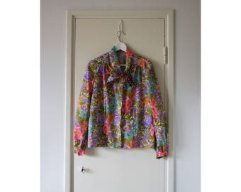 Vintage Floral Blouse With Bow Tie Long Sleeve Button Up Tie Neck Pussy Bow