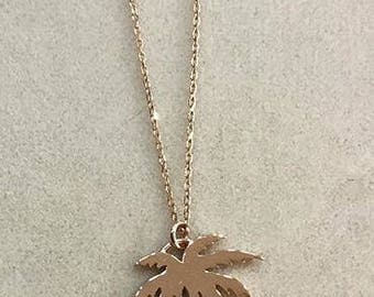 925 Silver Palm Tree Necklace, Hand-made 925 Silver Palm Tree Necklace Available in Yellow Gold filled, Rose Gold Filled, White Gold Filled.