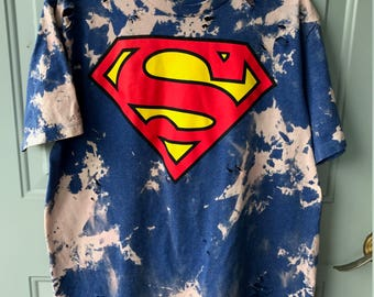 Bleached and Ripped Distressed Superman Shirt