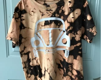 Bleached and Ripped Distressed Volkswagen Car Shirt