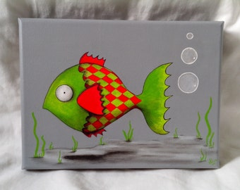 Contemporary painting of a red and Green fish