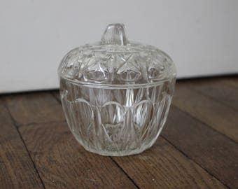 Vintage french glass bonbonnière or sugar bowl
