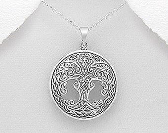 Heavily Ornate Sterling Silver Tree of Life Pendant