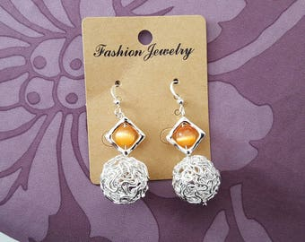 aluminum ball, orange cat eye, Pearl Silver earrings