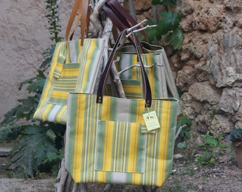 """Stripes collection """"Lounger"""" recycled canvas tote bag"""