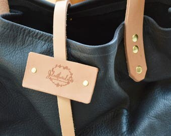 SALE!!! Black and Tan Leather Carry-All Tote
