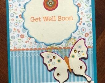 Get Well Soon Handmade Card YOU CHOOSE message!