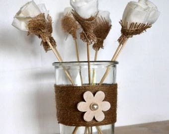 Vase glass and Twine burlap with large wooden flower