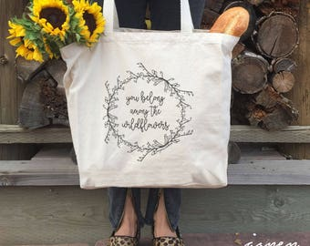 Tom Petty, WILDFLOWERS tote, canvas bag, canvas market bag, farmer's market tote, Tom Petty lyrics, girlfriend boho gift, zero waste bag