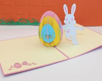 Handmade 3D pop up popup card Easter pink rabbit egg birthday new baby boy girl birth baptism christening party invitation wedding enrolment