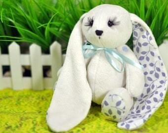 Plush bunny toy - Bunny rag doll - Handmade rabbit doll - Stuffed toy - Fabric bunny Doll - Stuffed doll. Bunny Tilda