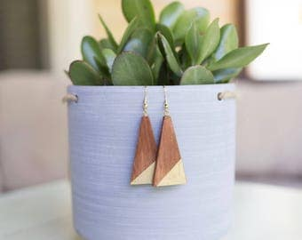 Miri Gold Triangle Earrings, Geometric Minimalist Earrings, Reclaimed Turkish Wood, Refugee Made Afghan Women's Jewelry