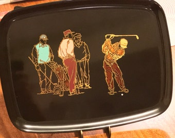 Vintage 1970s COUROC of MONTEREY Tray with 4 Pebble Beach Golfers