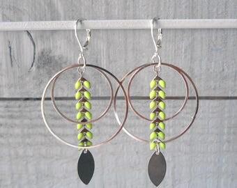 Earring creole ear enameled green/silver chain