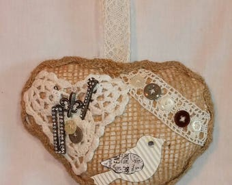 Rustic Burlap Heart With Buttons