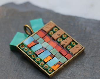 Square glass mosaic and millefiori, baked and Cork land pendant