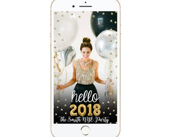 Hello 2018 Happy New Year Snapchat Geofilter happy new years filter happy holidays diy customized custom personalize it's lit gold glitter