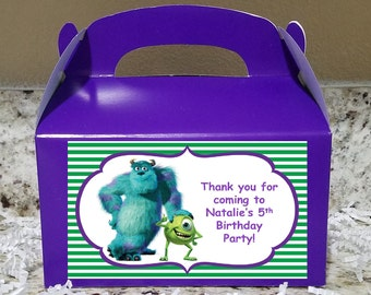 Sale! 12 Monsters Inc Treat Boxes,Monsters Inc Gable Boxes, Monsters Inc Candy Boxes, Monsters Inc Party Boxes