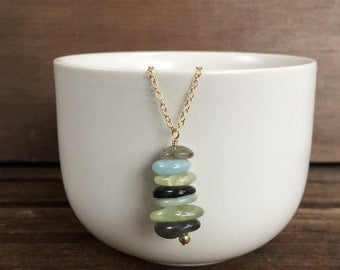 Stone Cairn Necklace, Gold Necklace, Silver Necklace, Spiritual Jewelry, Stacked Stone Necklace, Zen Necklace, Gemstone Necklace, Cairn
