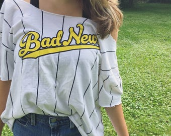 distressed scoop neck 'bad news' striped top