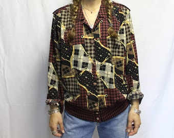 Vintage Burgundy/gray Plaid print shirt