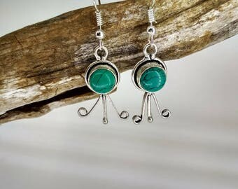 Earrings with green/turquoise stone and silver