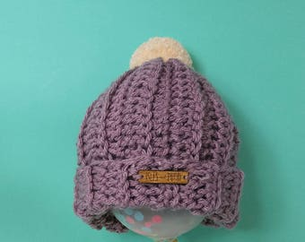 Kids | LAVENDER | Crocheted Unisex Bobble Hat | With Cream Pom Pom