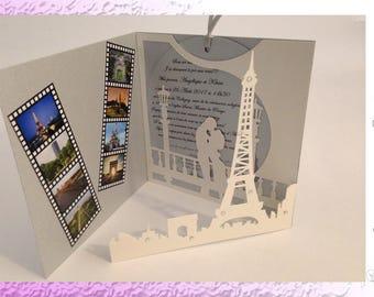 Paris and Eiffel Tower - wedding invitation